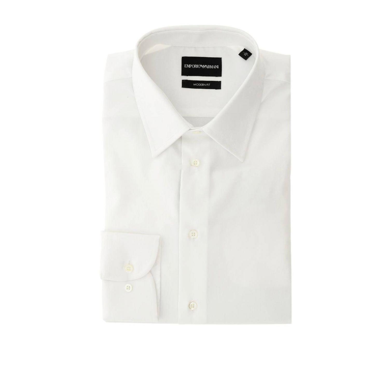 Camicia Emporio Armani con collo italiano in twill stretch bianco 1