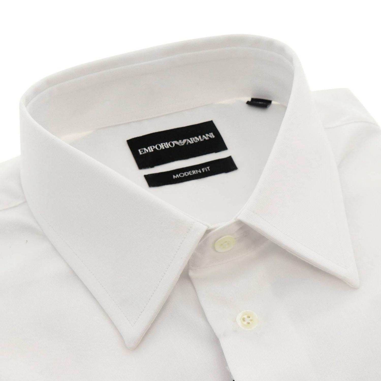 Camicia Emporio Armani con collo italiano in twill stretch bianco 2