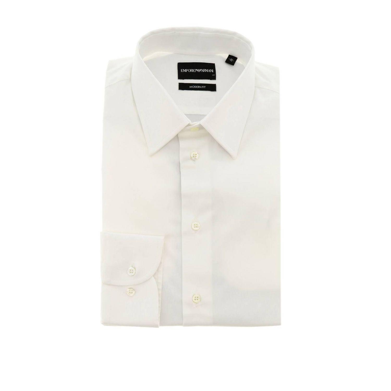 Chemise Emporio Armani avec col italien en coton stretch blanc 1