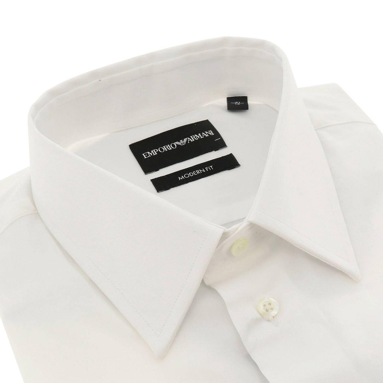 Chemise Emporio Armani avec col italien en coton stretch blanc 2