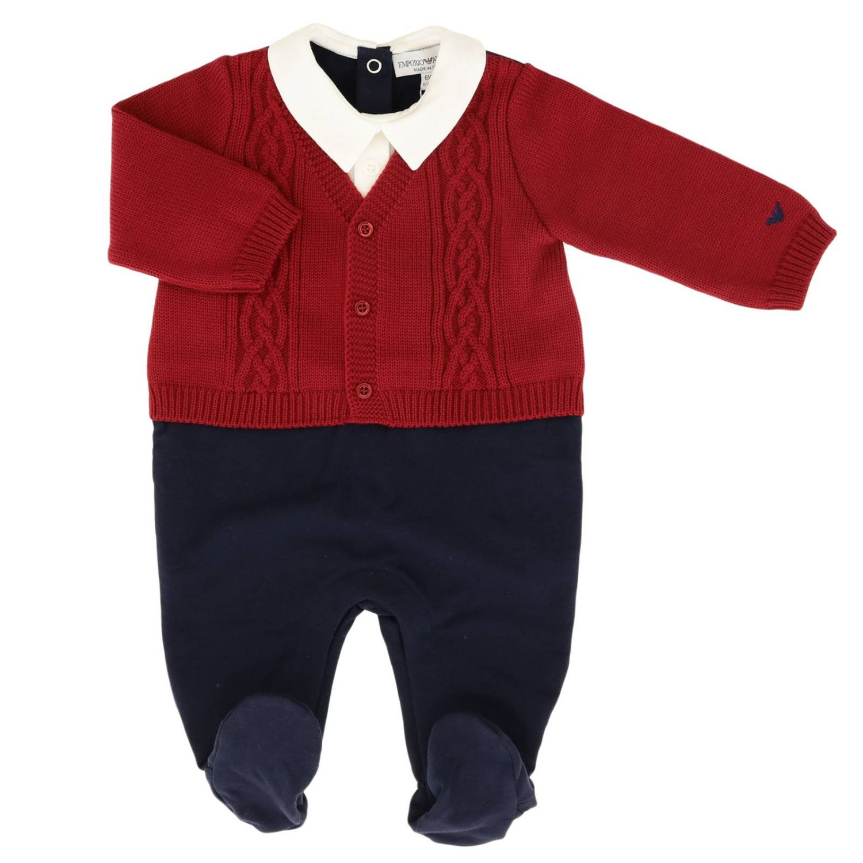 Barboteuse Emporio Armani: Body bébé en jersey Emporio Armani avec cardigan tressé bleu 1