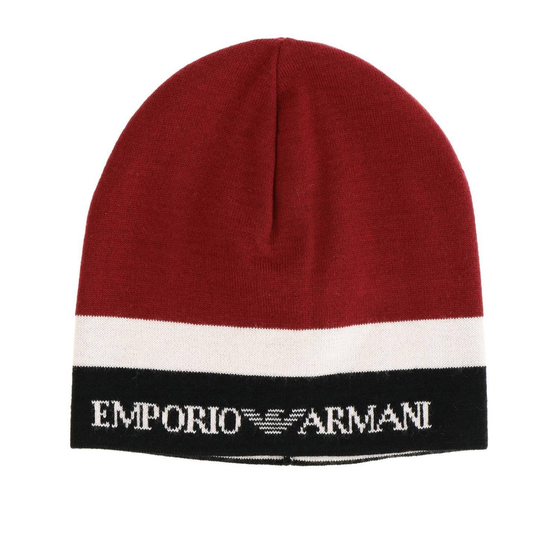 Cappello Emporio Armani con logo bicolor bordeaux 1