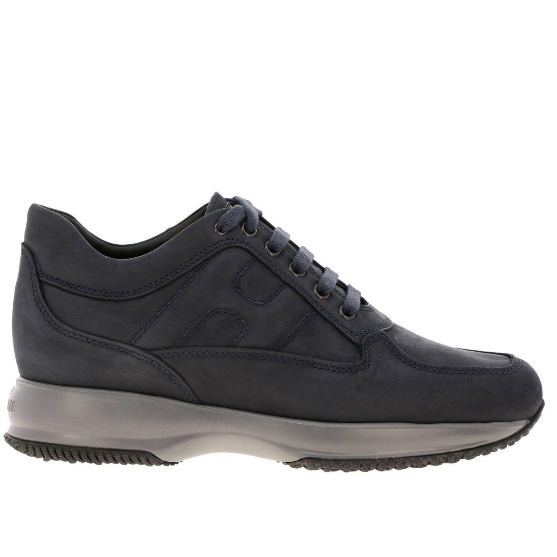Sneakers Interactive Hogan in nabuk con H bombata blue 1