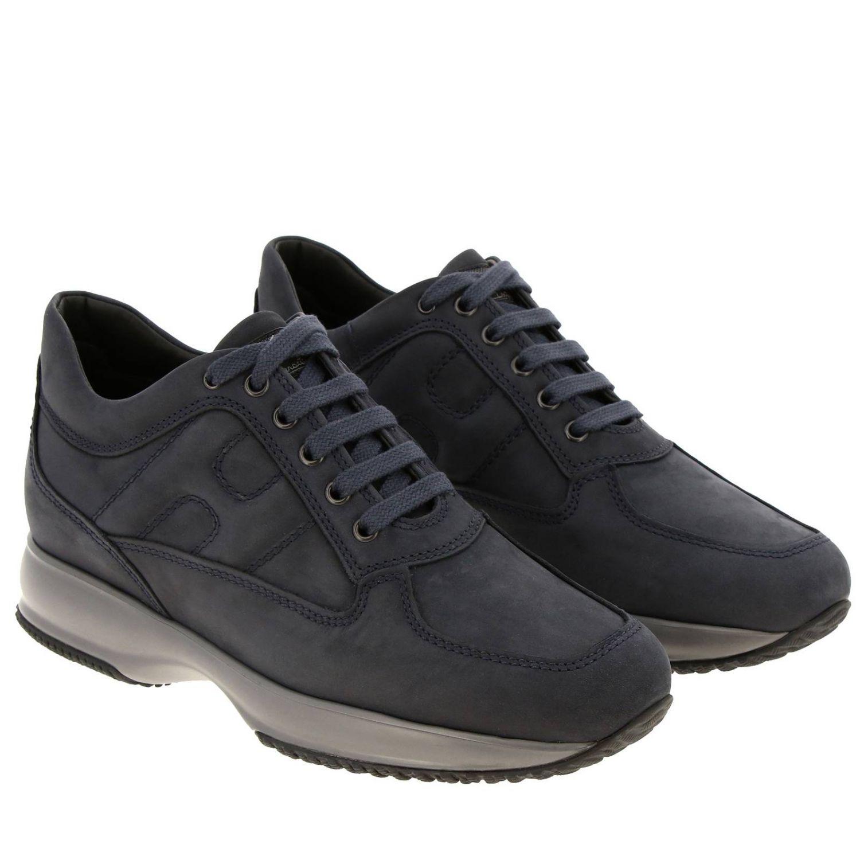 Sneakers Interactive Hogan in nabuk con H bombata blue 2