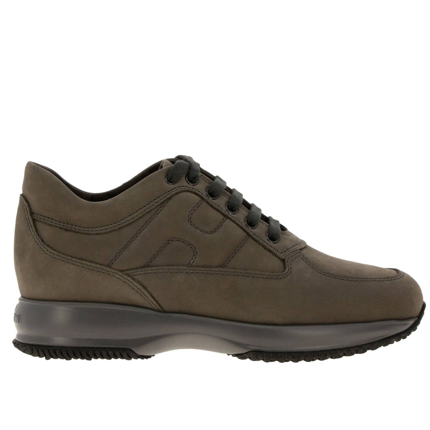 Interactive Hogan nubuck sneakers with rounded H mud 1