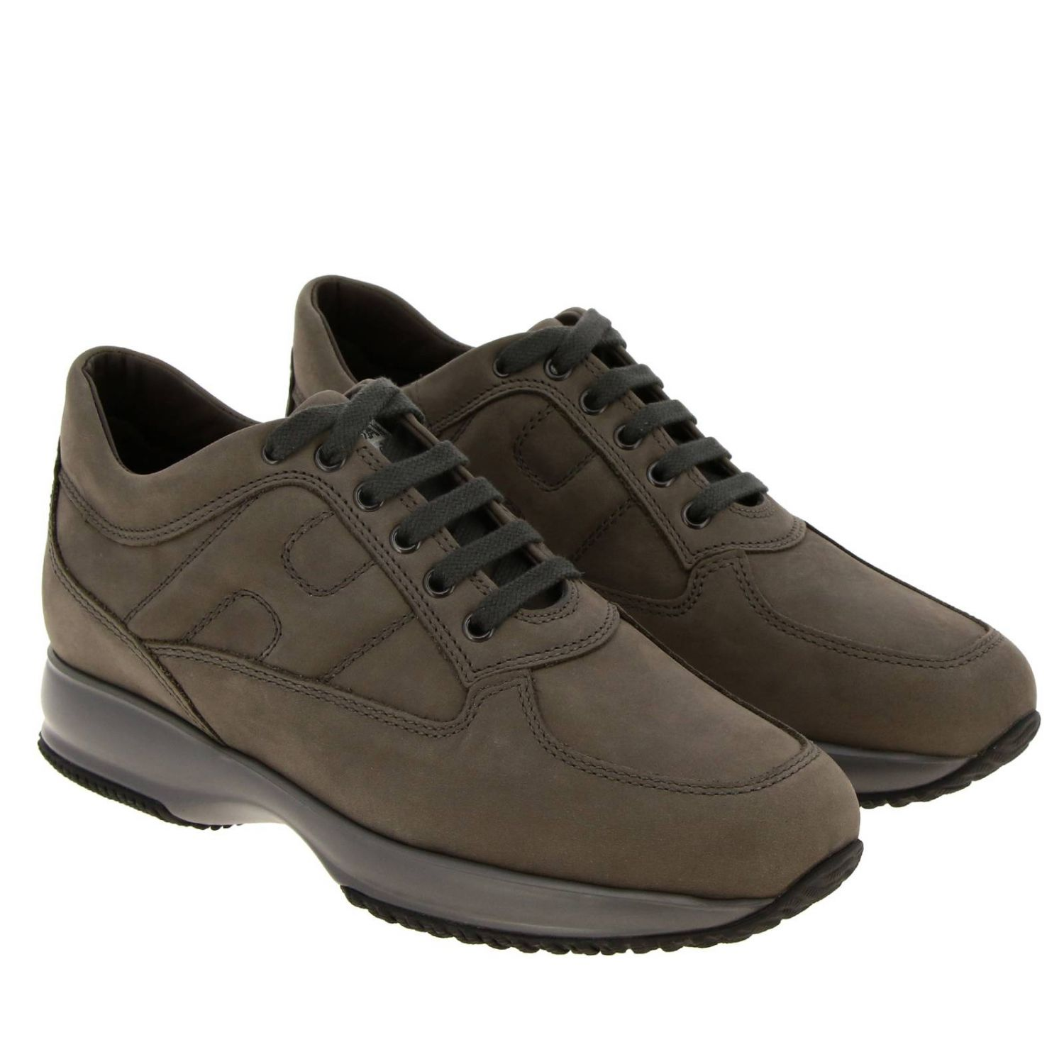 Interactive Hogan nubuck sneakers with rounded H mud 2