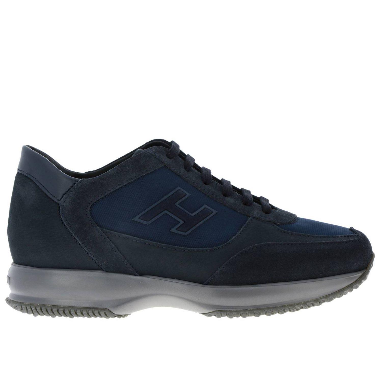 Hogan New Interactive运动鞋,采用皮革绒面革和微条纹面料 蓝色 1