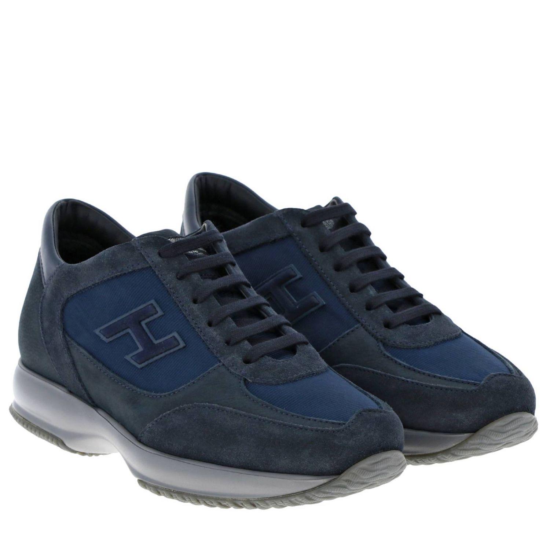 Hogan New Interactive运动鞋,采用皮革绒面革和微条纹面料 蓝色 2