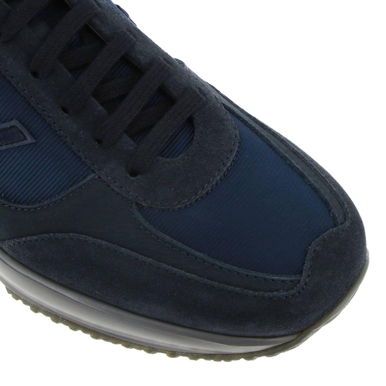 Hogan New Interactive运动鞋,采用皮革绒面革和微条纹面料 蓝色 3