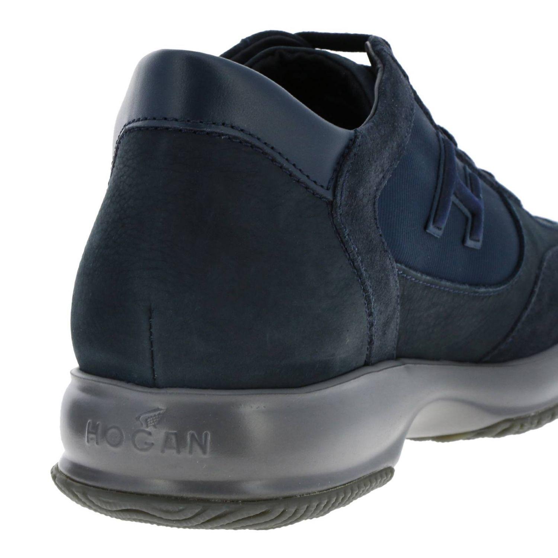 Hogan New Interactive运动鞋,采用皮革绒面革和微条纹面料 蓝色 4