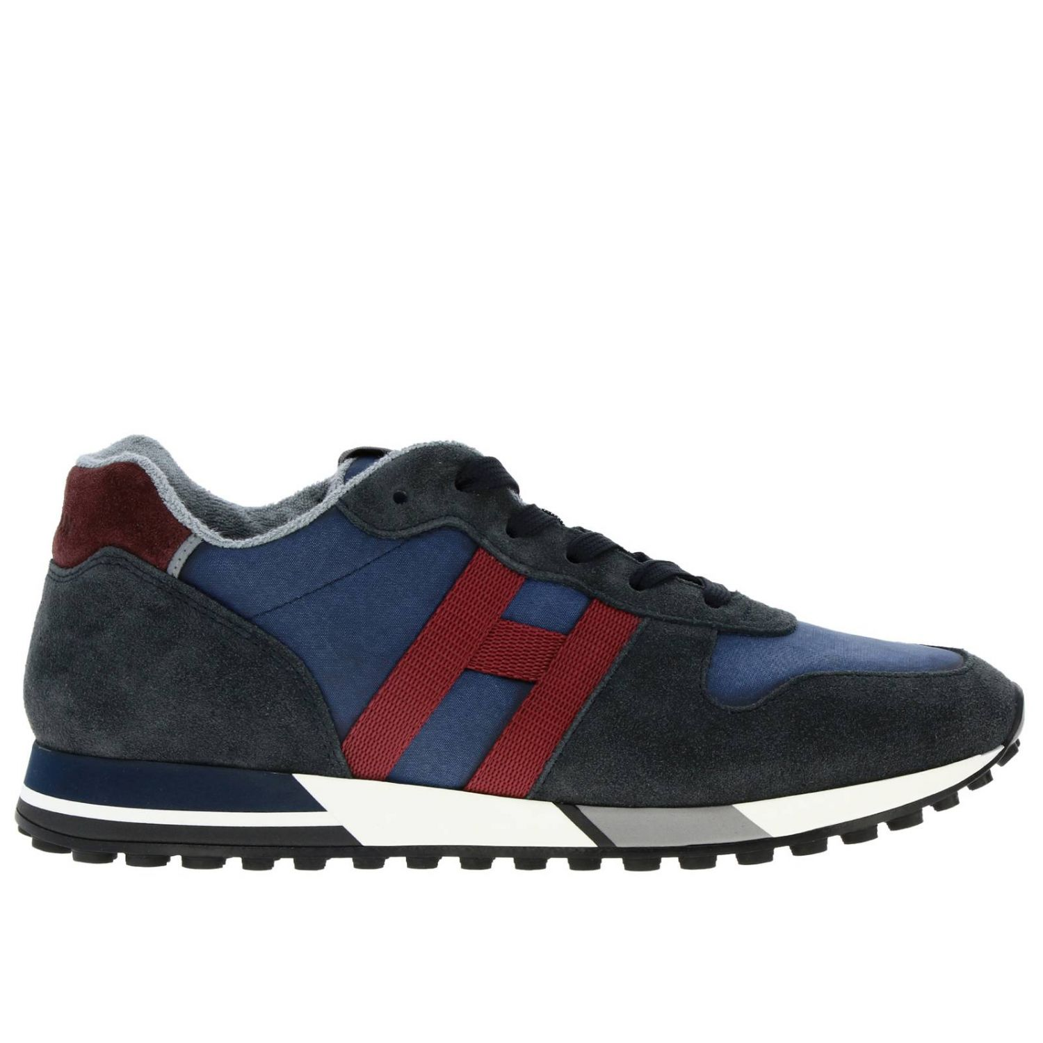 Sneakers 383 split leather and fabric Hogan with monochrome H blue 1