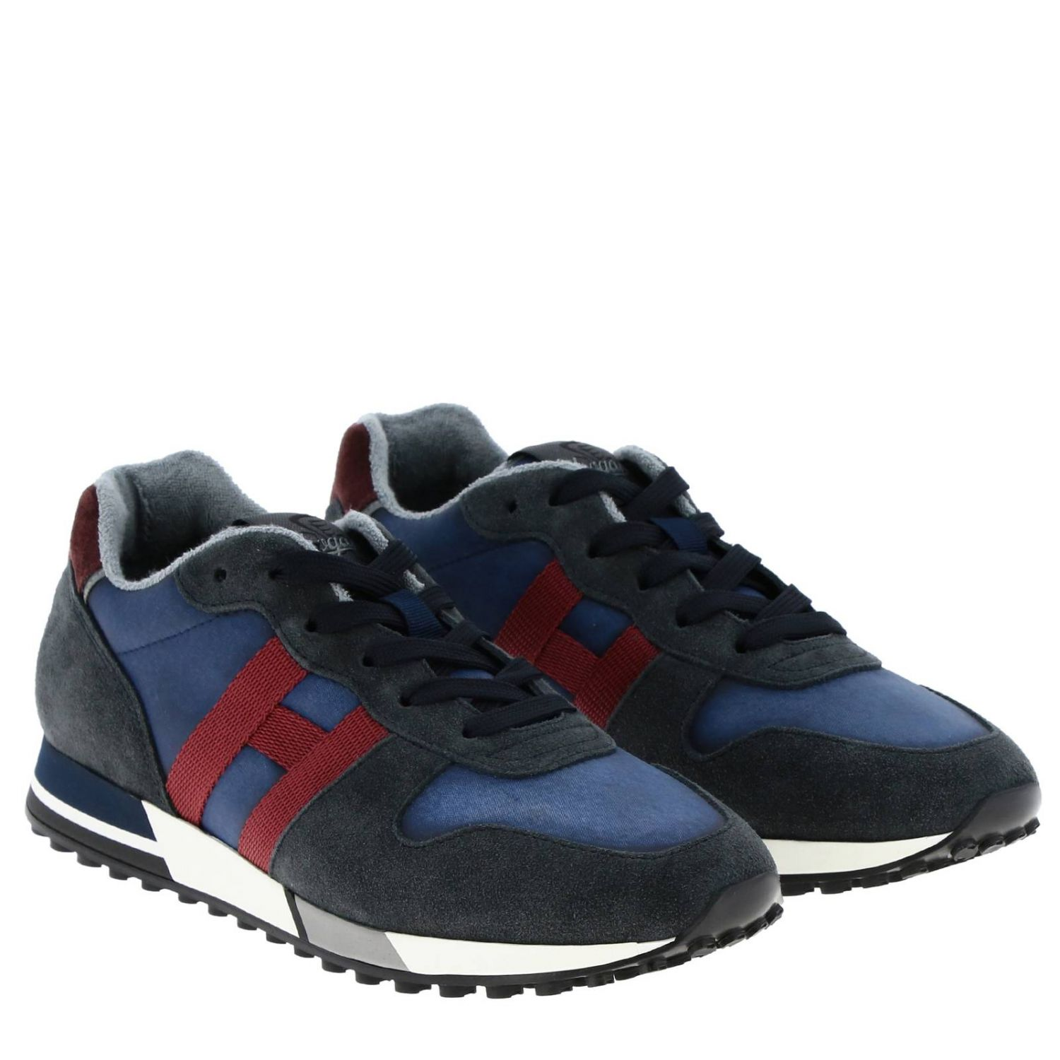 Sneakers 383 split leather and fabric Hogan with monochrome H blue 2