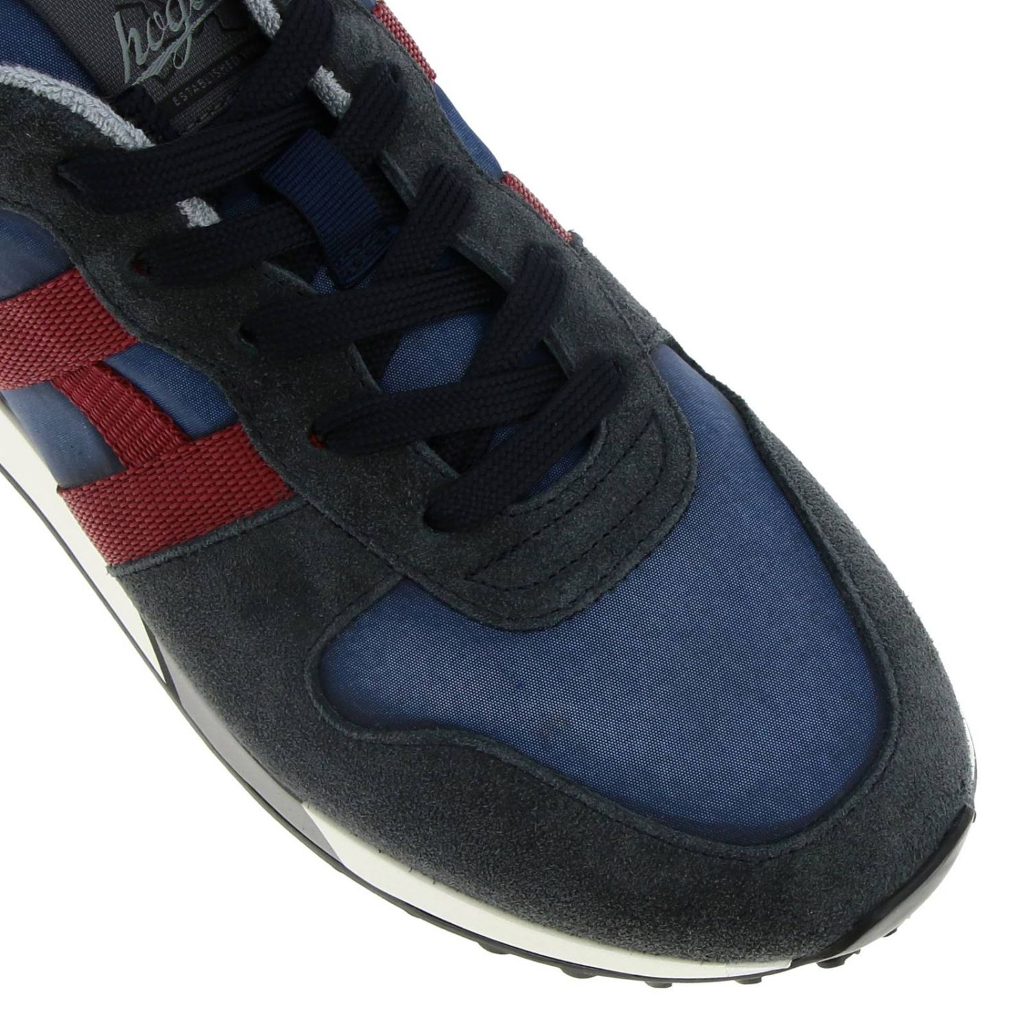 Sneakers 383 split leather and fabric Hogan with monochrome H blue 3