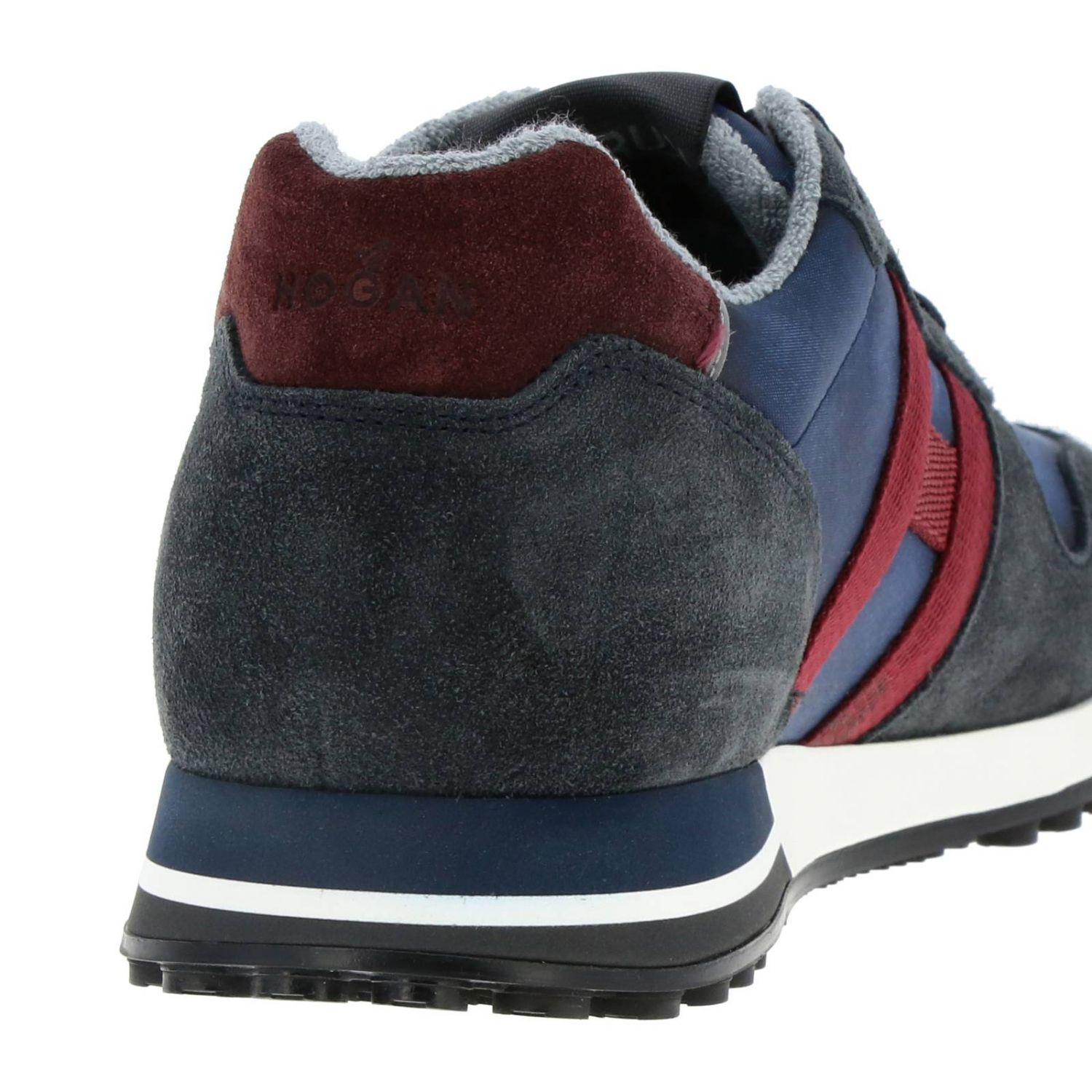 Sneakers 383 split leather and fabric Hogan with monochrome H blue 4
