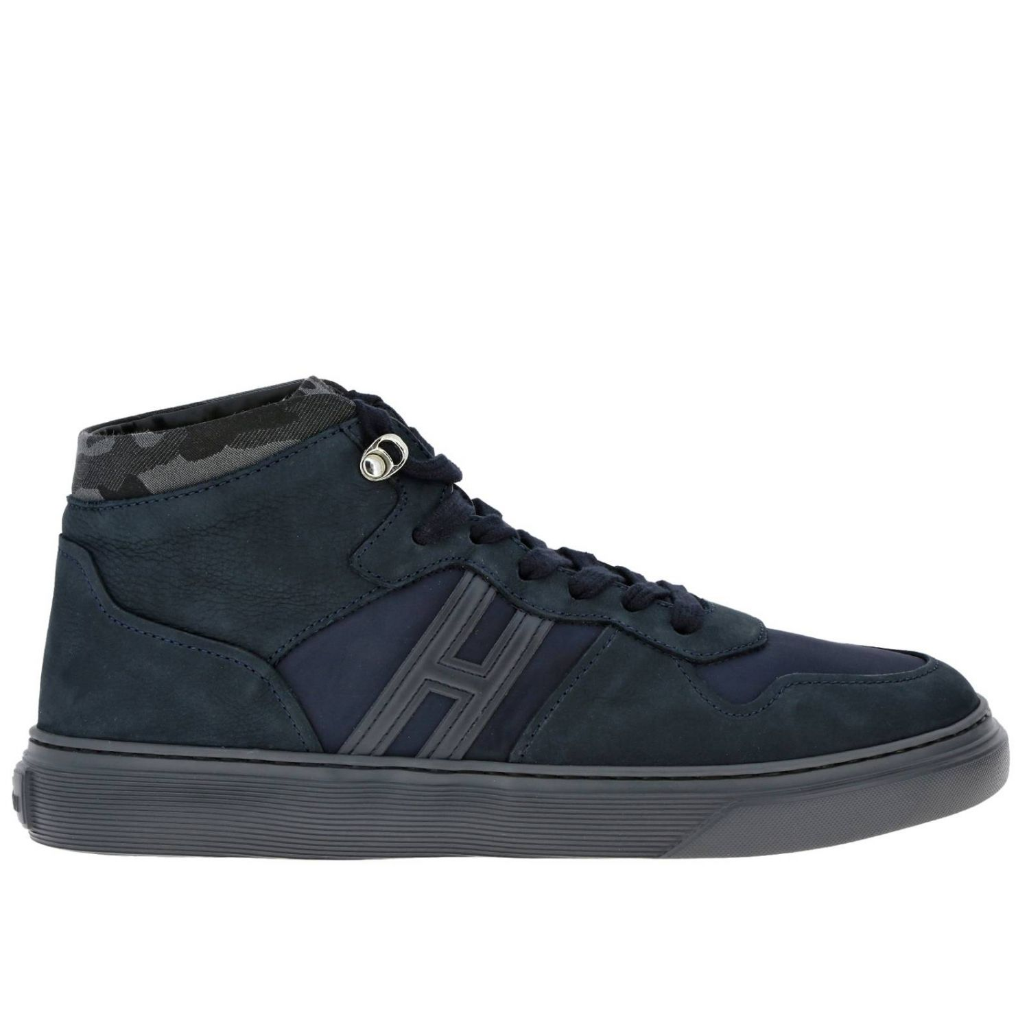 365 suede and nylon Sneakers Hogan Basket with camouflage detail blue 1