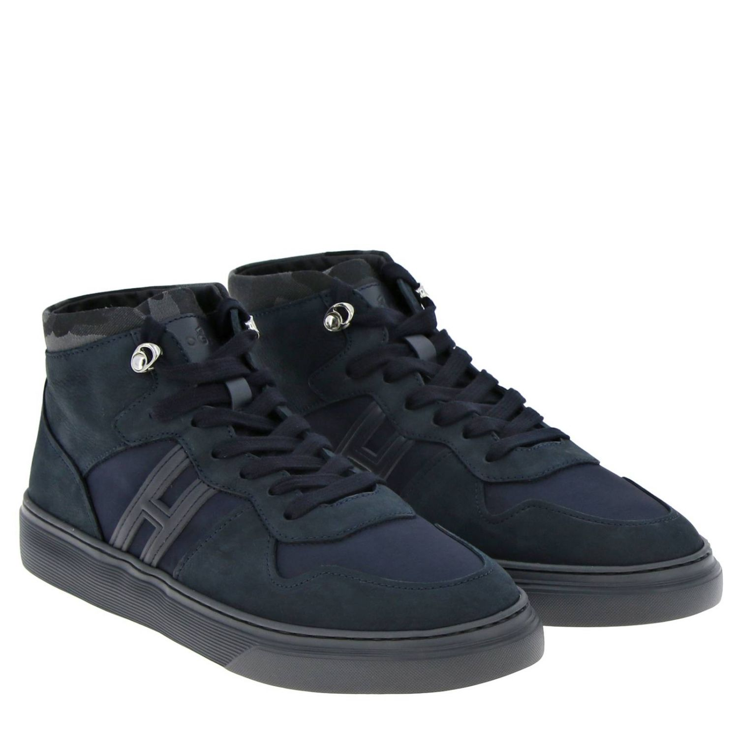 365 suede and nylon Sneakers Hogan Basket with camouflage detail blue 2