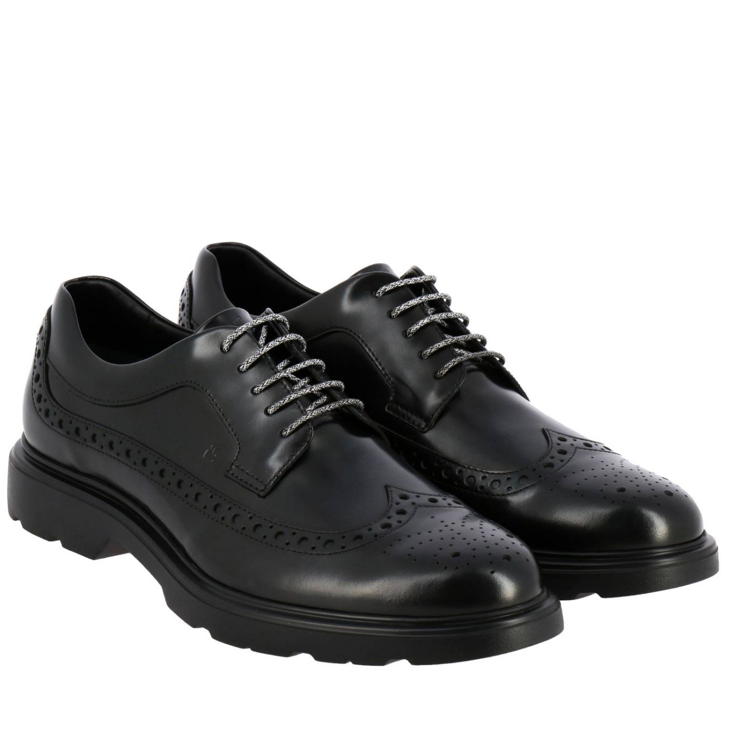 Route 393 Hogan derby in brushed leather with memory sole and brogue motif