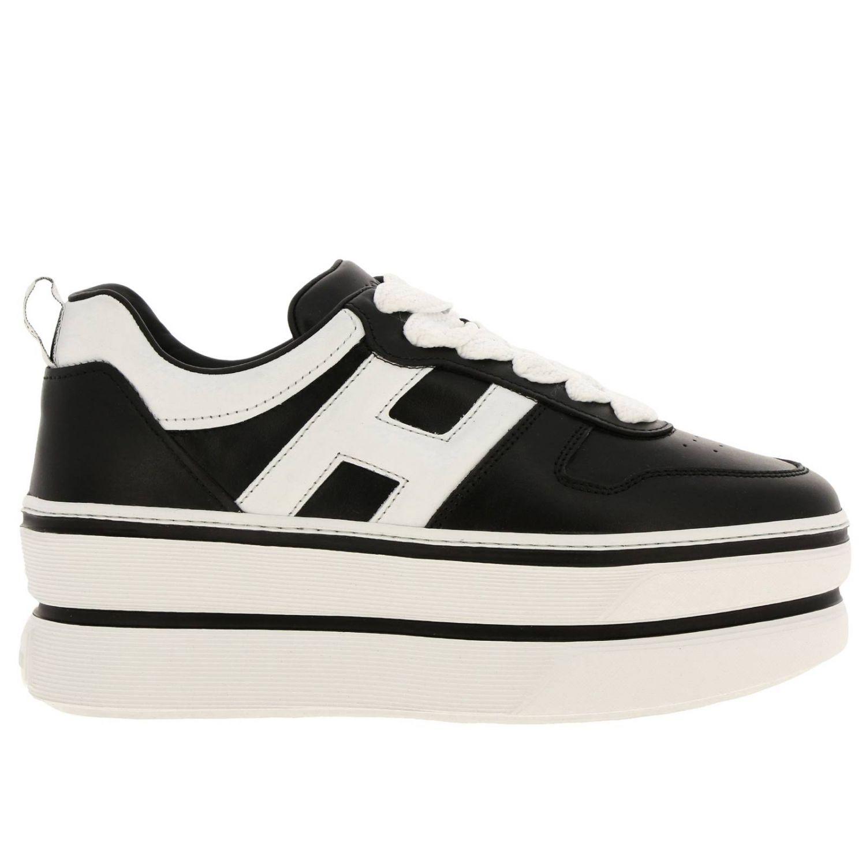 Кроссовки 449 Hogan из кожи с логотипом Н на макси-платформе черный 1
