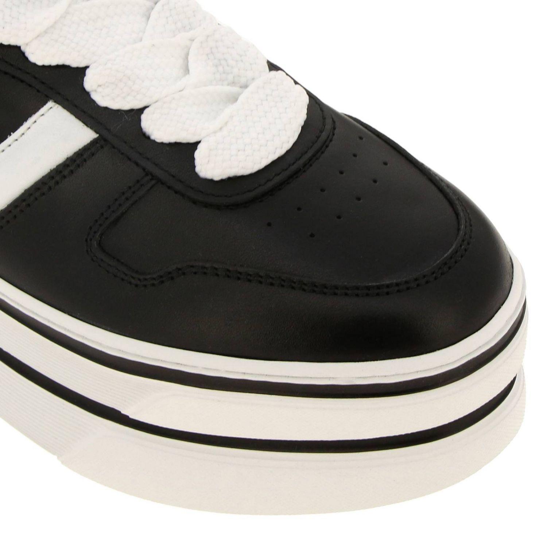 Кроссовки 449 Hogan из кожи с логотипом Н на макси-платформе черный 3