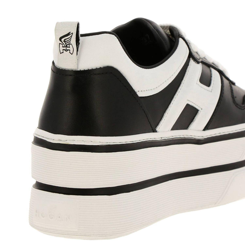 Кроссовки 449 Hogan из кожи с логотипом Н на макси-платформе черный 4