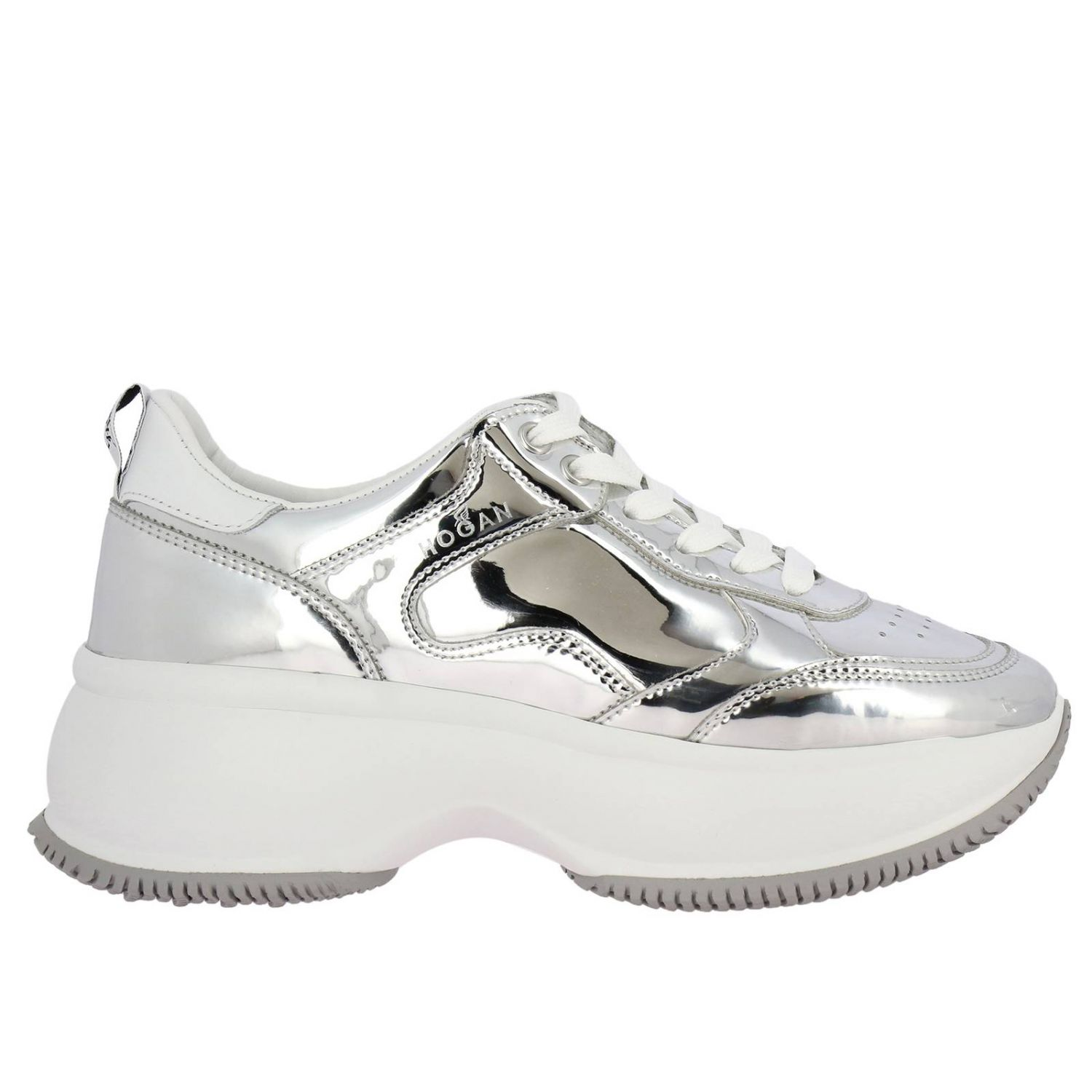 Sneakers Hogan: Active one Maxi Hogan mirrored leather sneakers and smooth leather silver 1