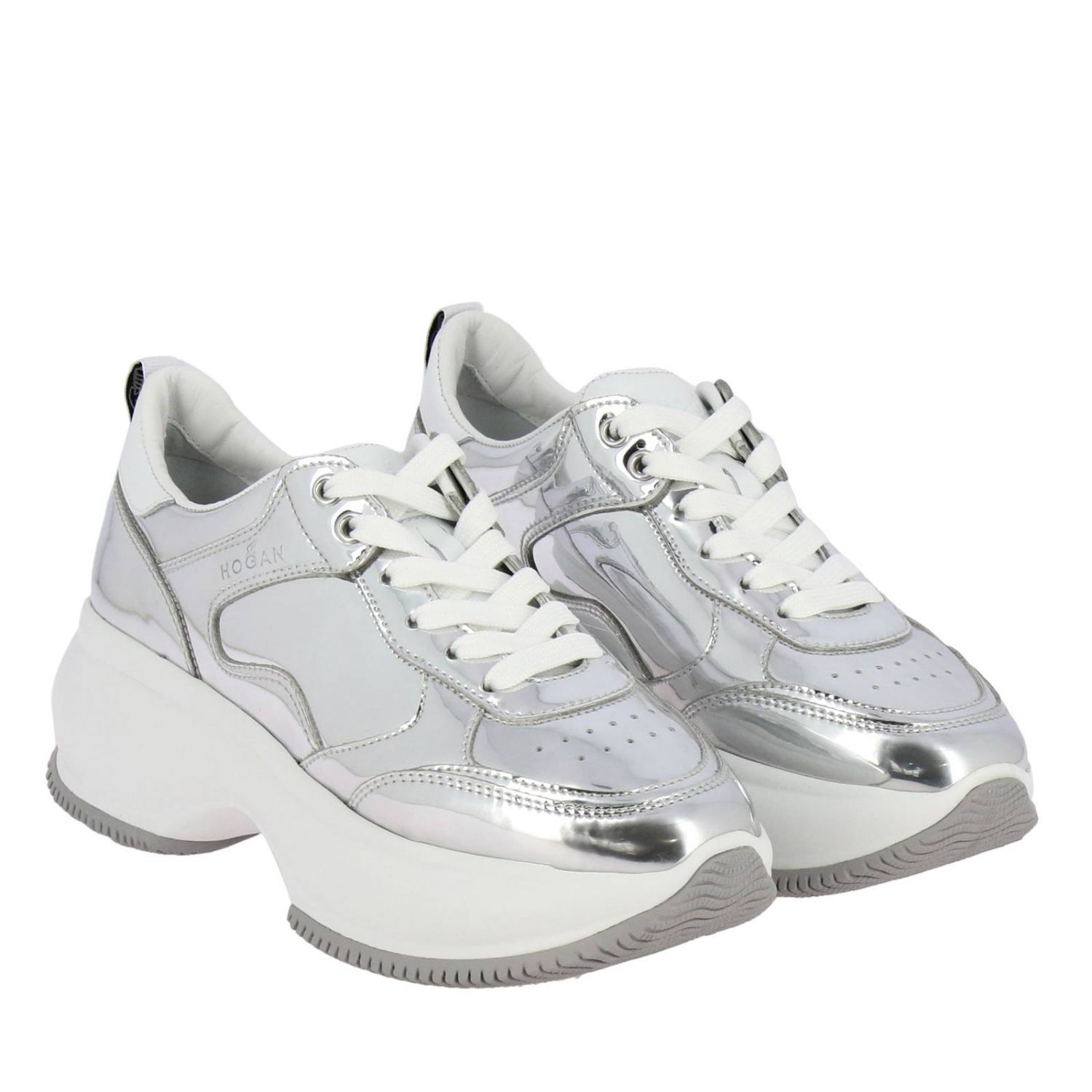 Sneakers Hogan: Active one Maxi Hogan mirrored leather sneakers and smooth leather silver 2