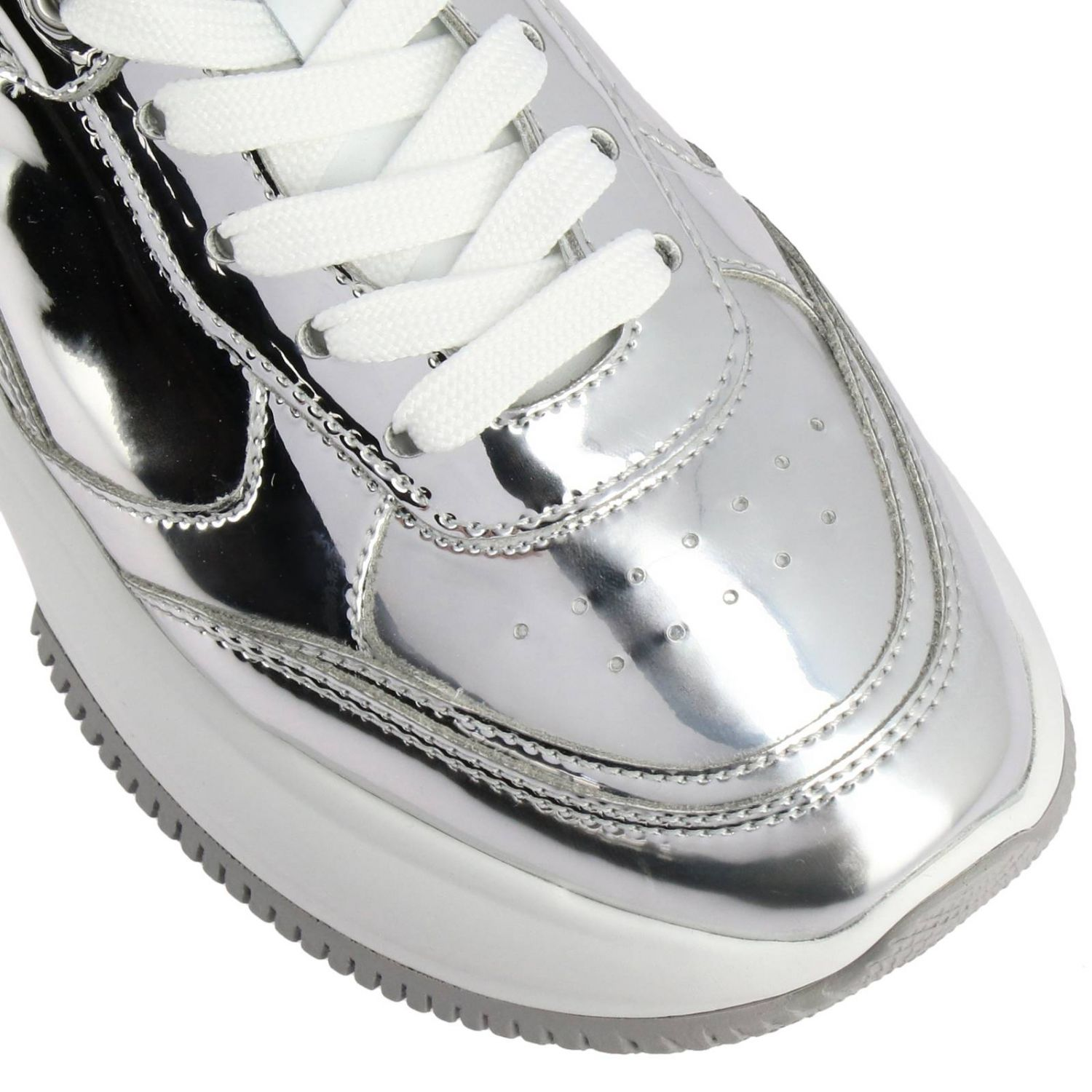 Sneakers Hogan: Active one Maxi Hogan mirrored leather sneakers and smooth leather silver 3