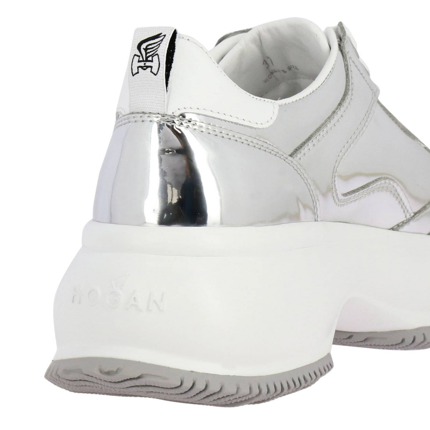 Sneakers Hogan: Active one Maxi Hogan mirrored leather sneakers and smooth leather silver 4