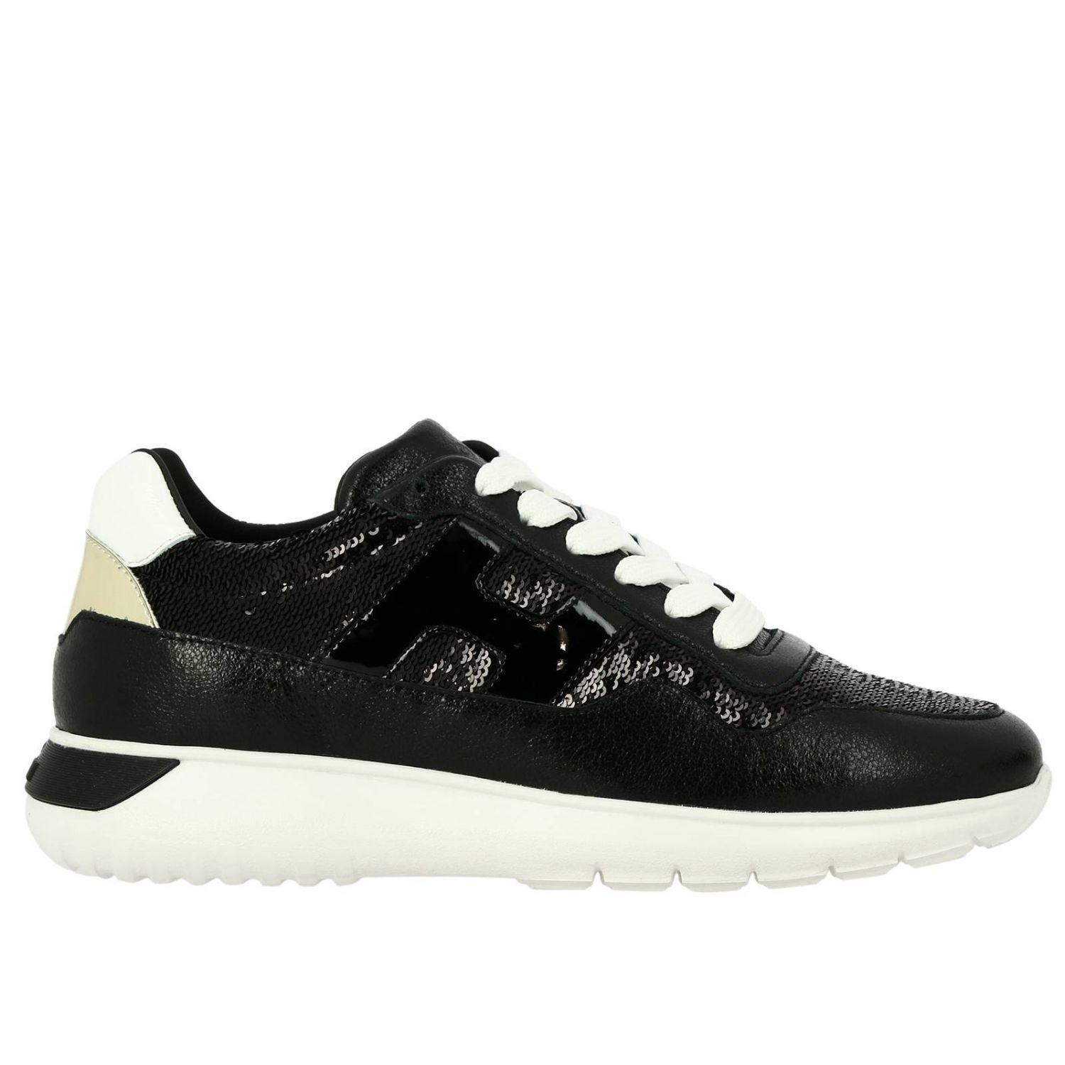 Cube Hogan leather and sequins sneakers with H and Sport sole black 1