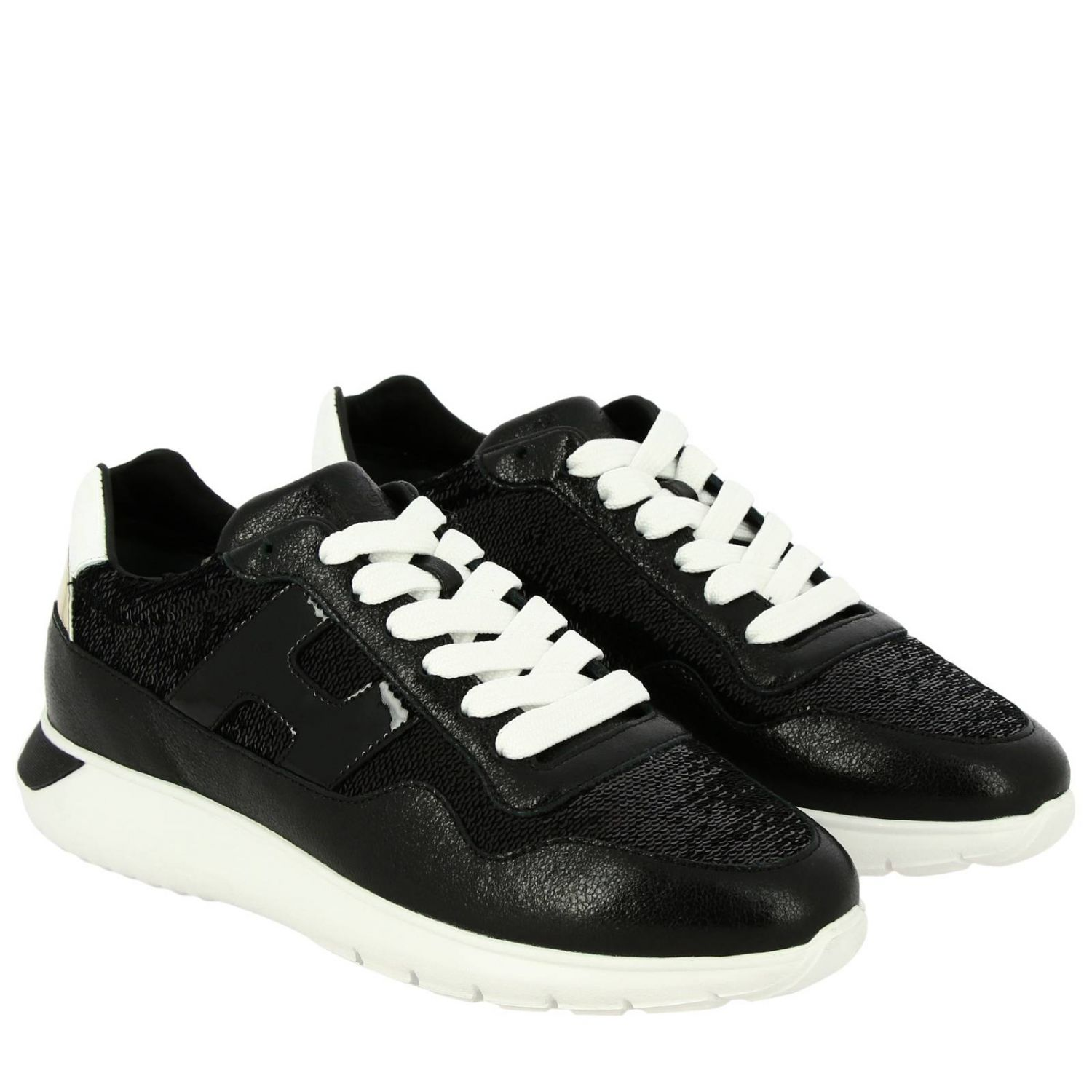 Cube Hogan leather and sequins sneakers with H and Sport sole black 2