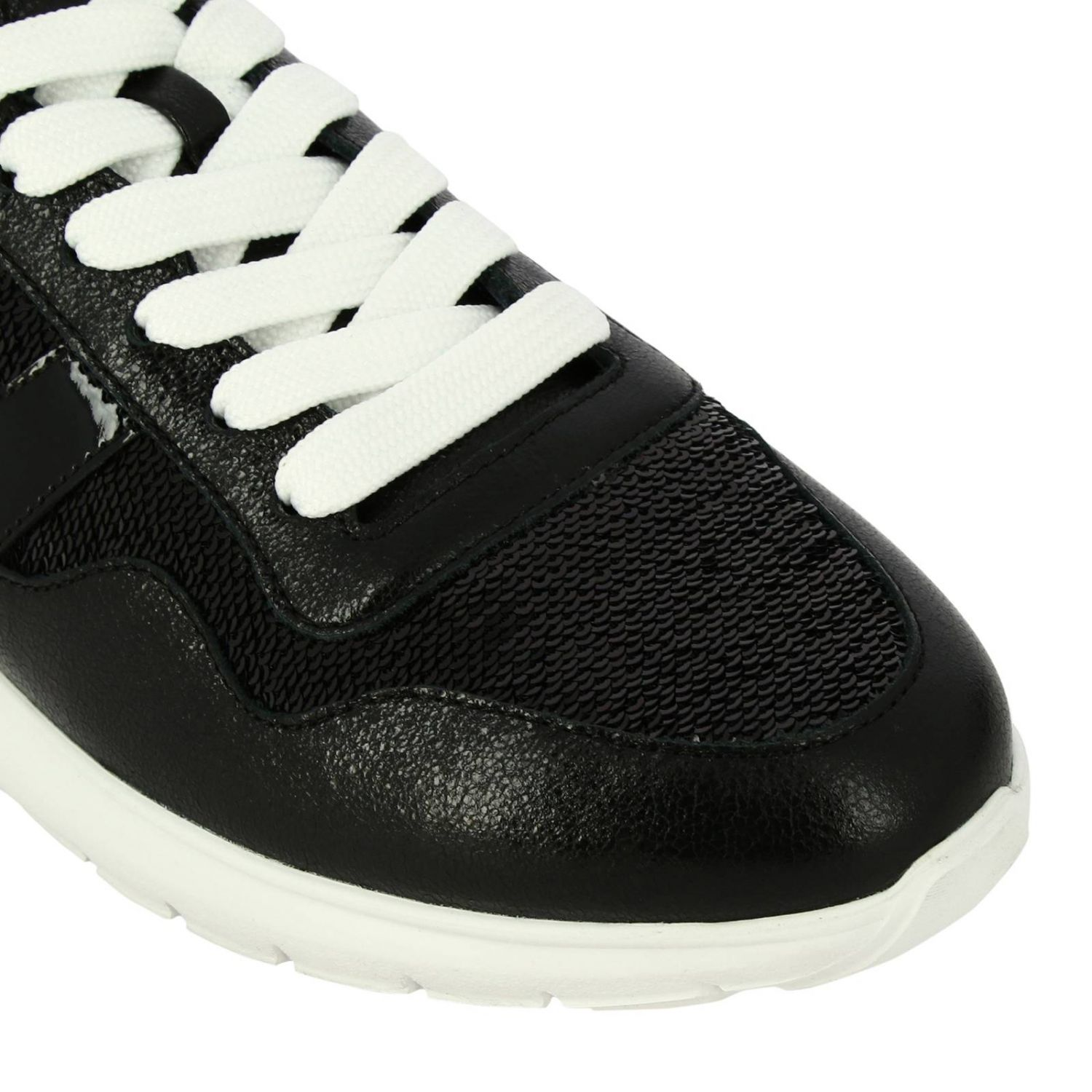 Cube Hogan leather and sequins sneakers with H and Sport sole black 3