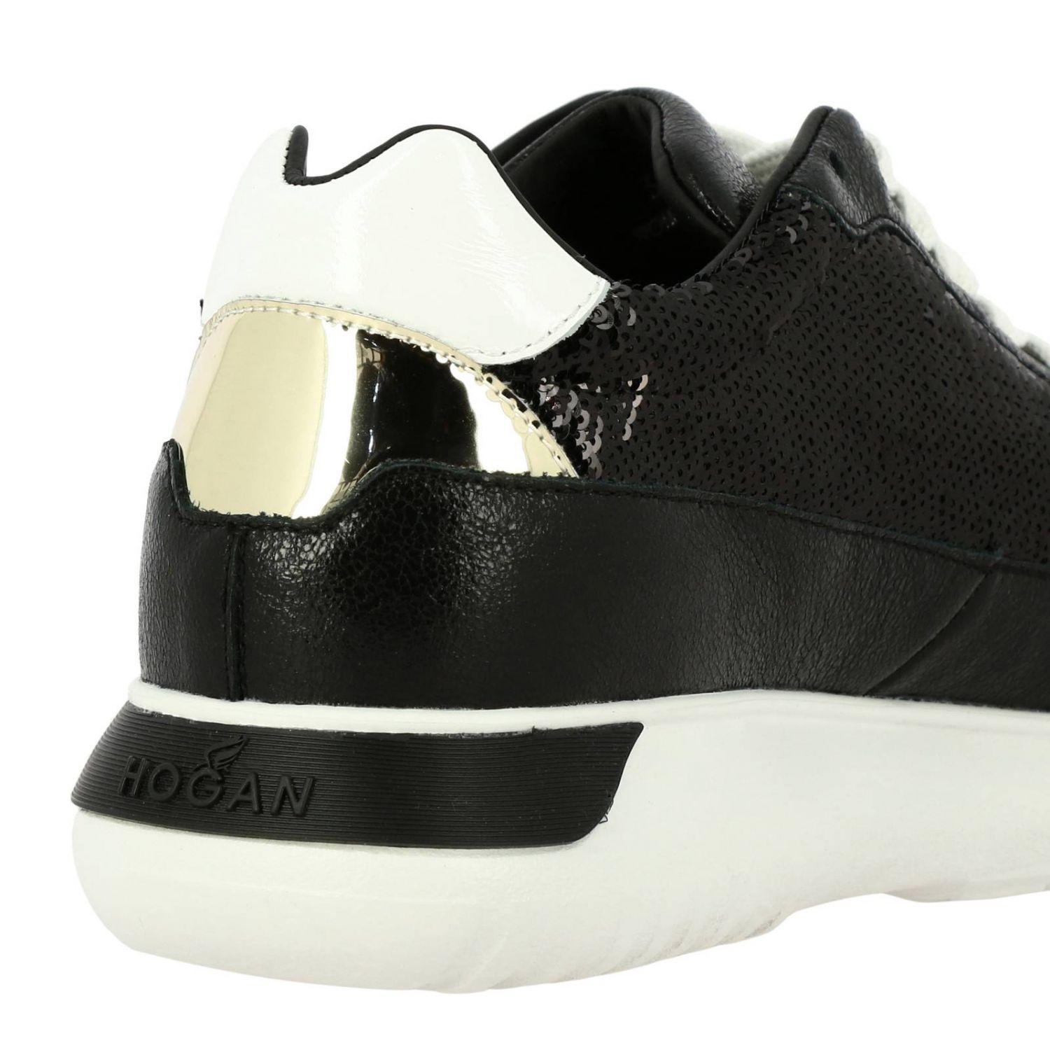 Cube Hogan leather and sequins sneakers with H and Sport sole black 4