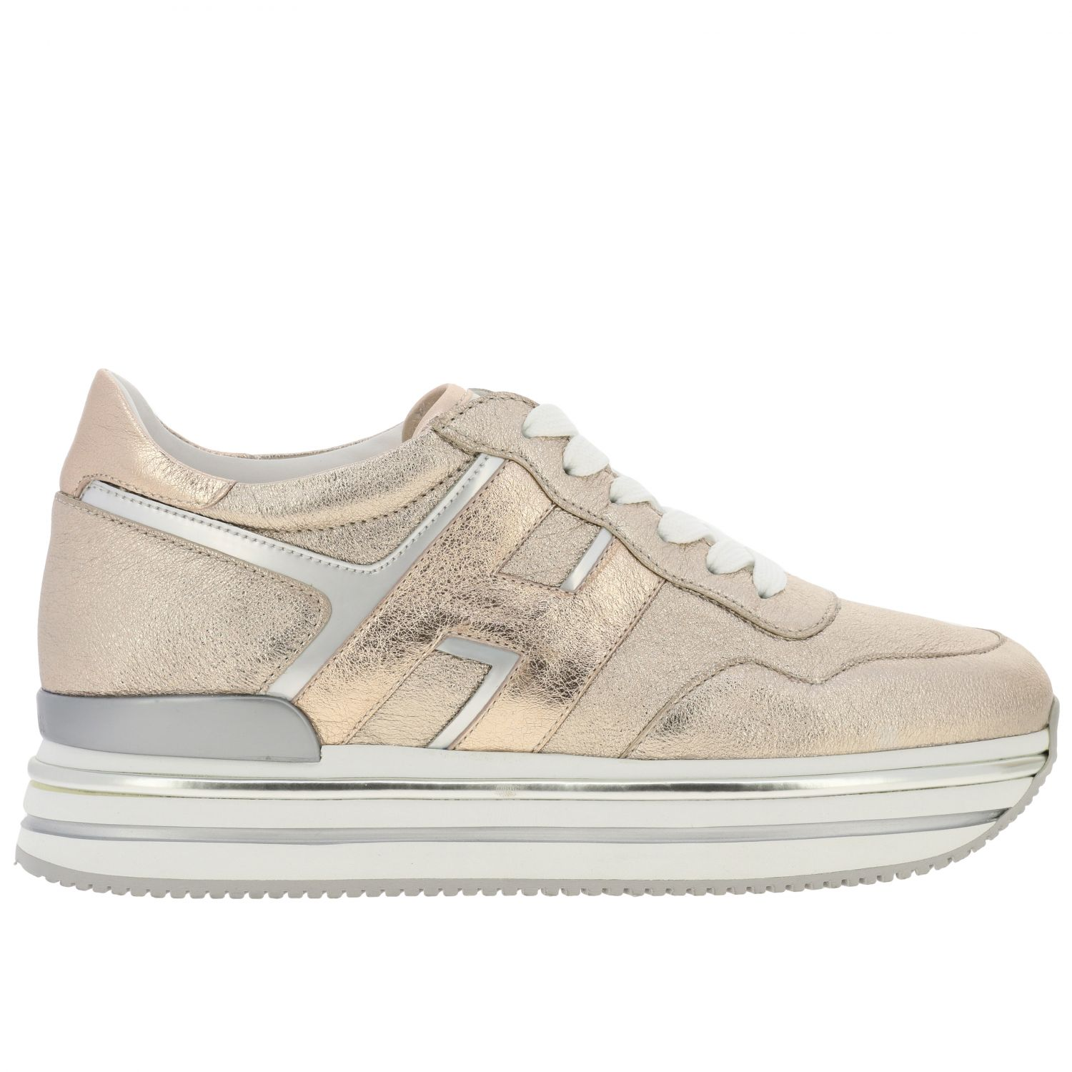 Hogan sneakers in laminated and mirrored leather with sole 222 pink 1