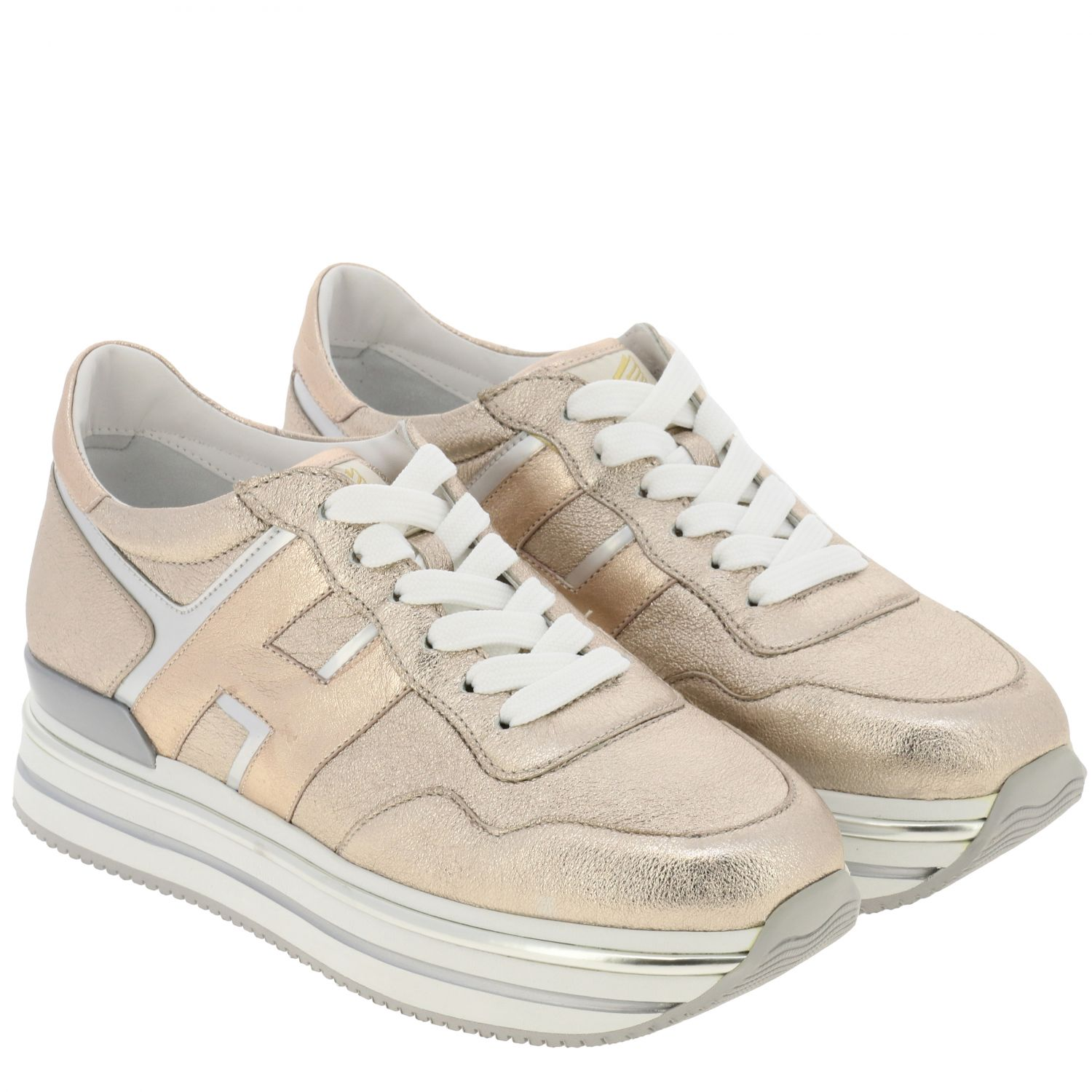 Hogan sneakers in laminated and mirrored leather with sole 222 pink 2