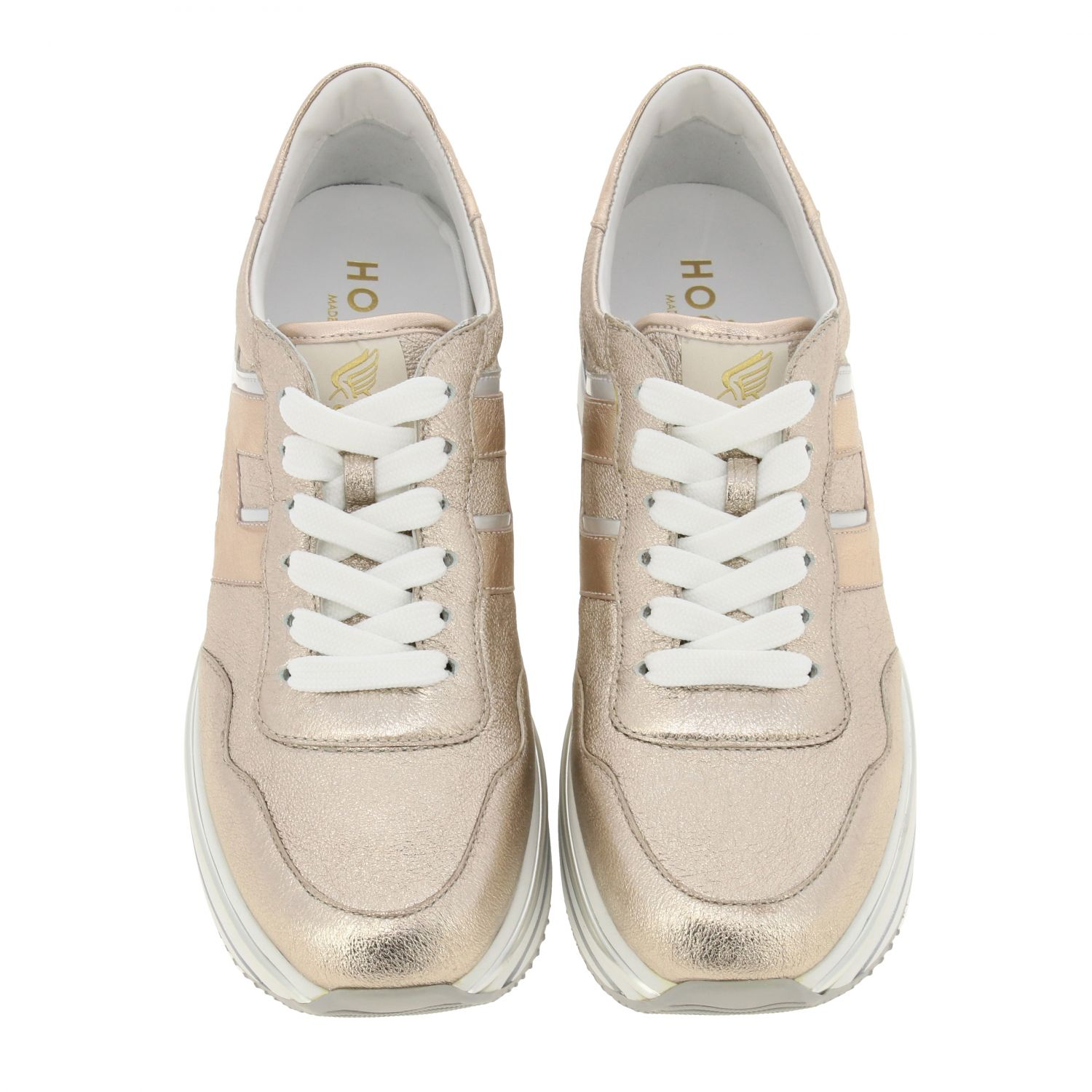Hogan sneakers in laminated and mirrored leather with sole 222 pink 3