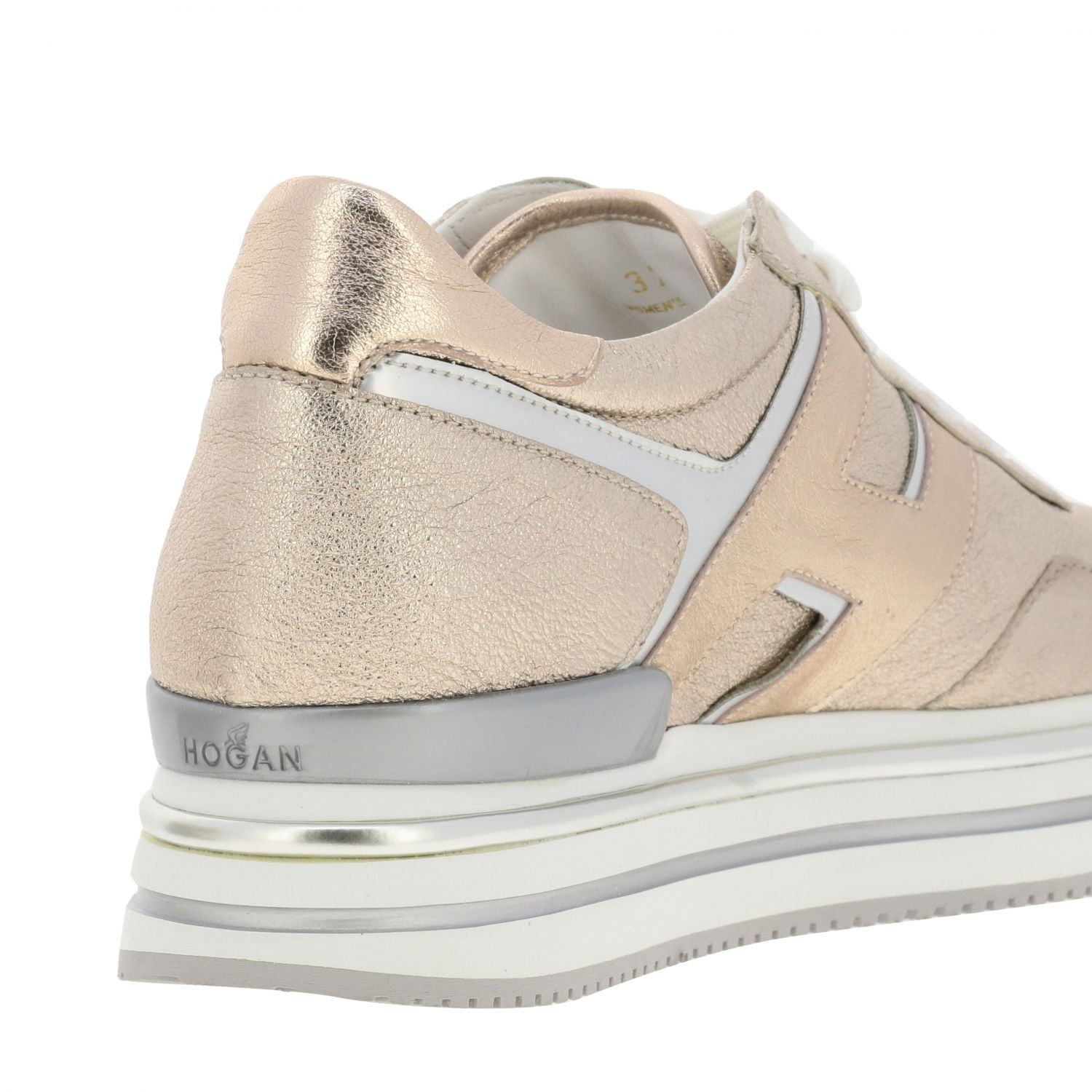 Hogan sneakers in laminated and mirrored leather with sole 222 pink 5