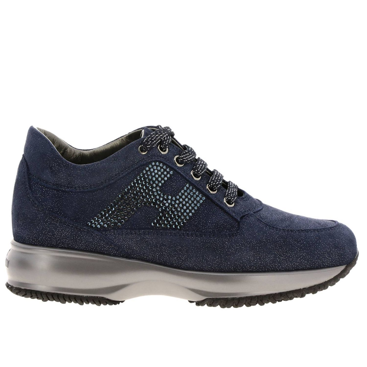 Hogan Interactive lurex suede sneakers with H strass blue 1