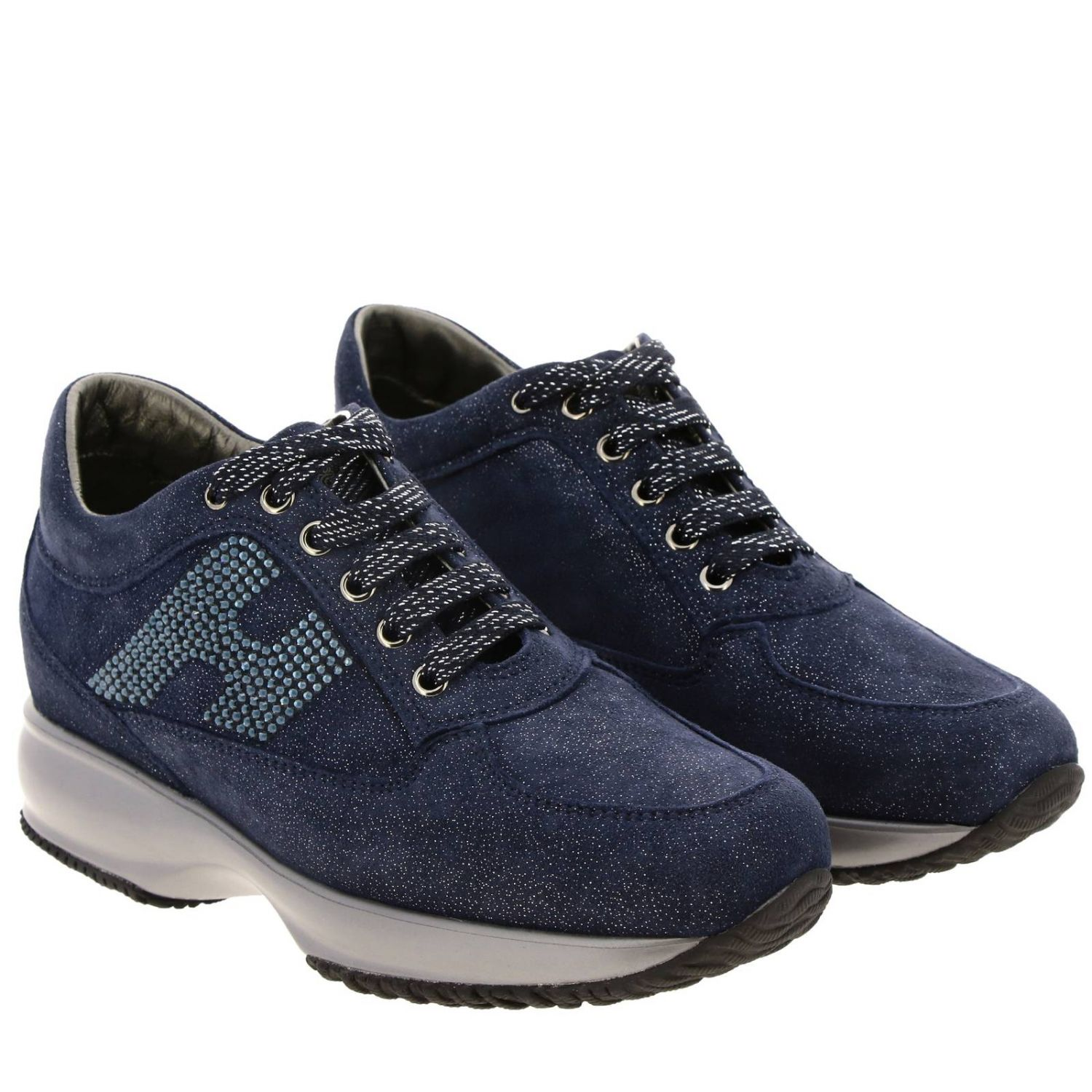 Hogan Interactive lurex suede sneakers with H strass blue 2