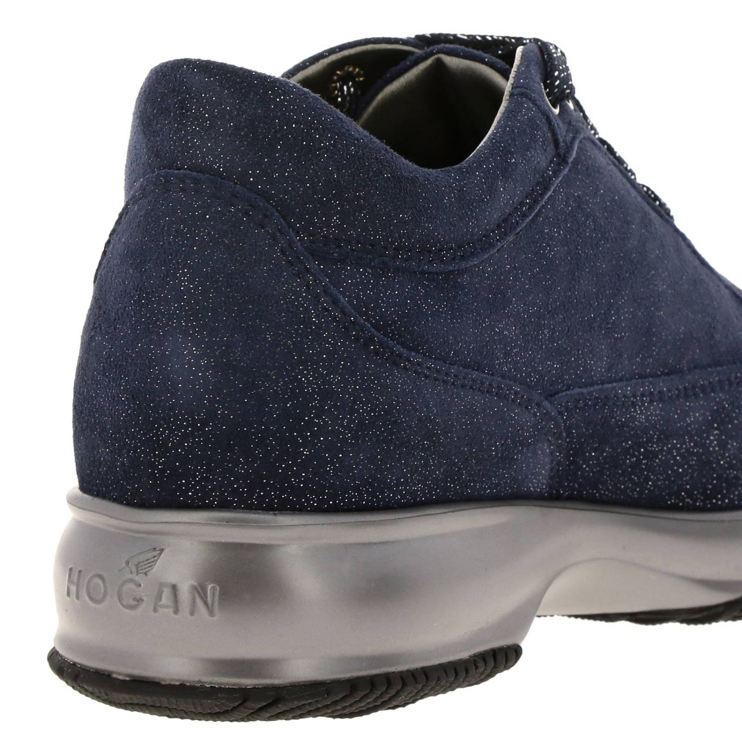 Hogan Interactive lurex suede sneakers with H strass blue 4