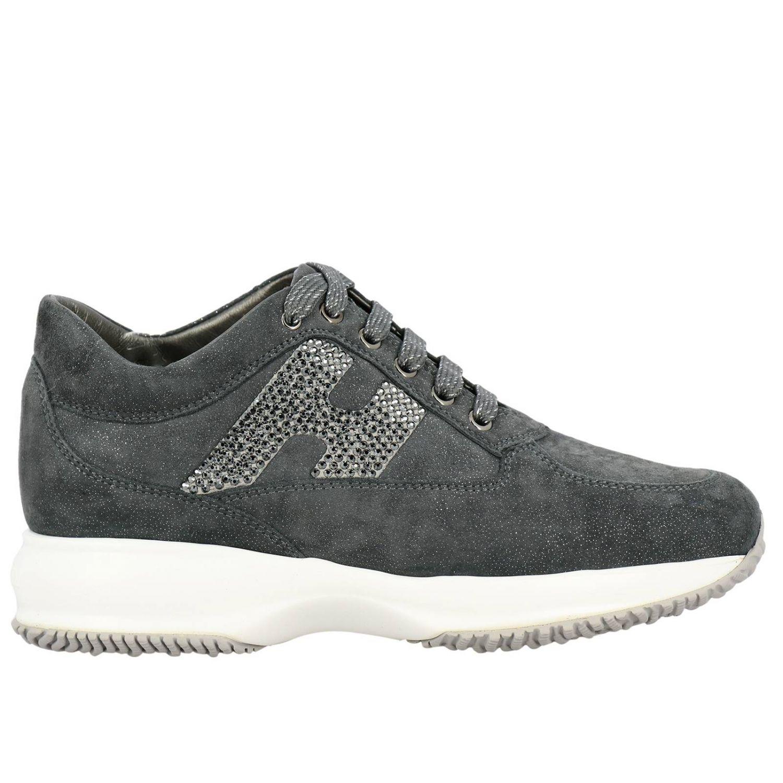 Sneakers Interactive Hogan in camoscio lurex con H di strass grigio 1