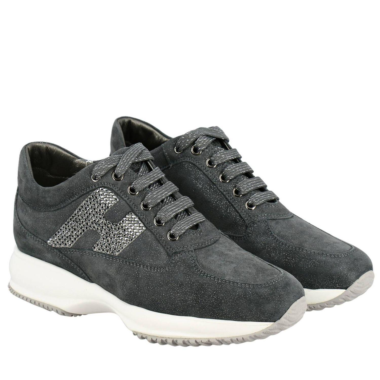 Sneakers Interactive Hogan in camoscio lurex con H di strass grigio 2