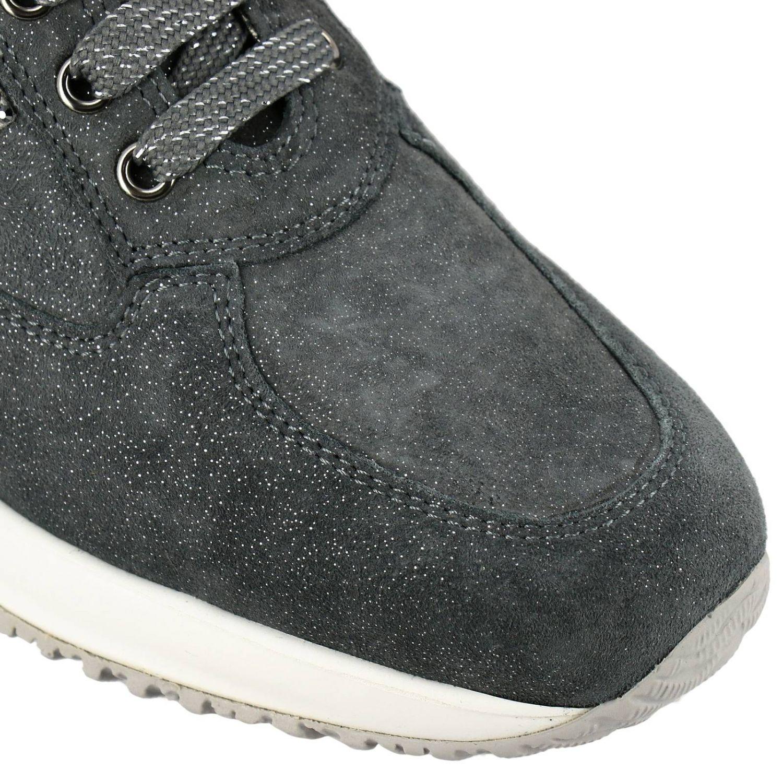 Sneakers Interactive Hogan in camoscio lurex con H di strass grigio 3