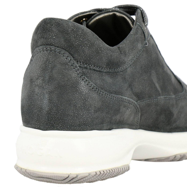 Sneakers Interactive Hogan in camoscio lurex con H di strass grigio 4