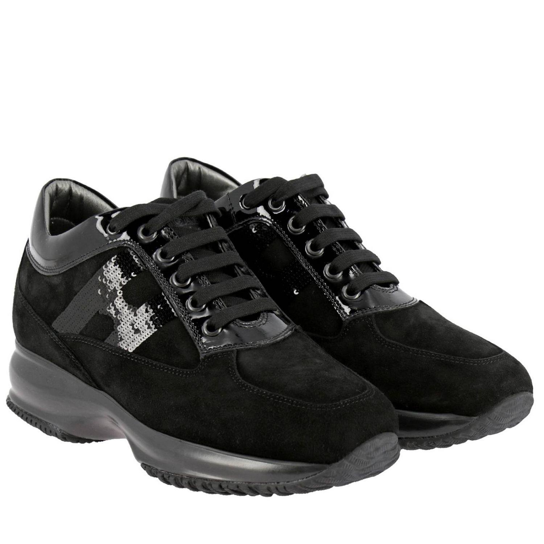 Hogan Interactive绒面革运动鞋,配有H字型亮片 黑色 2