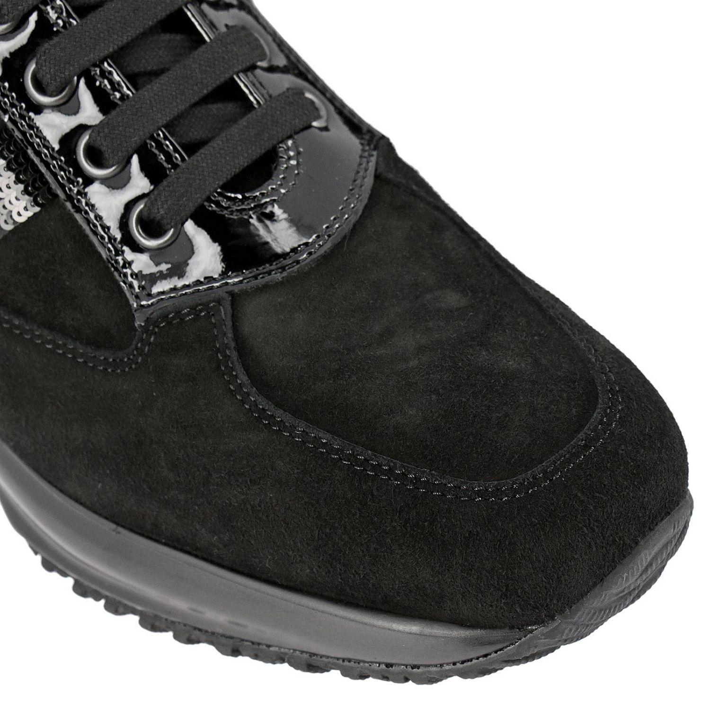 Hogan Interactive绒面革运动鞋,配有H字型亮片 黑色 3