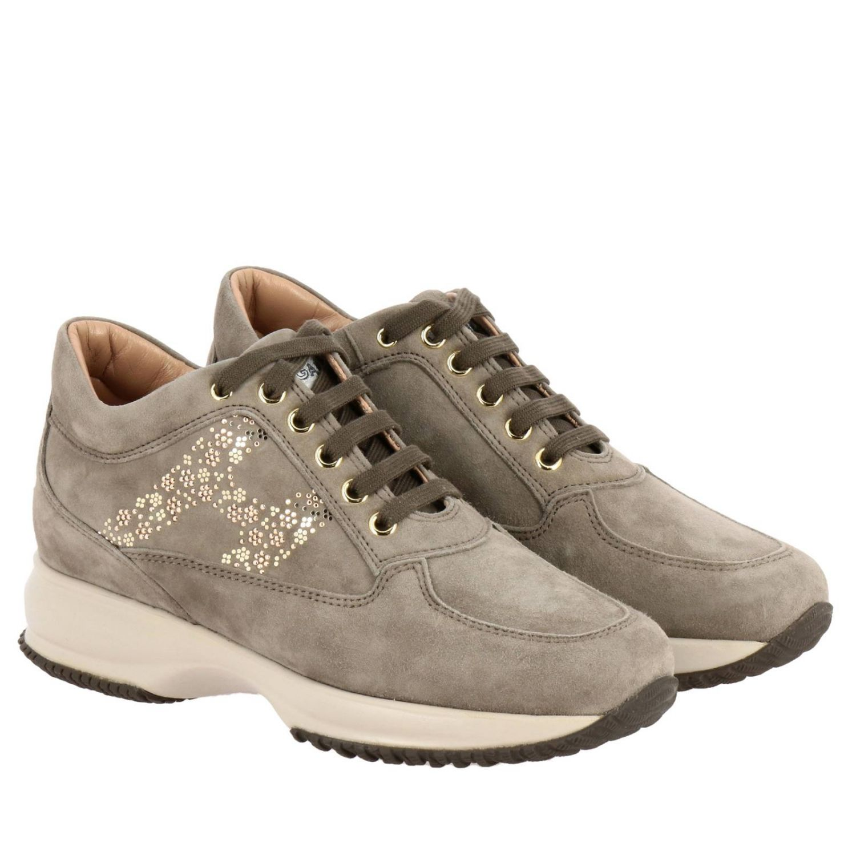Sneakers Hogan: Hogan Interactive suede sneakers with flower-shaped micro studs grey 1 2