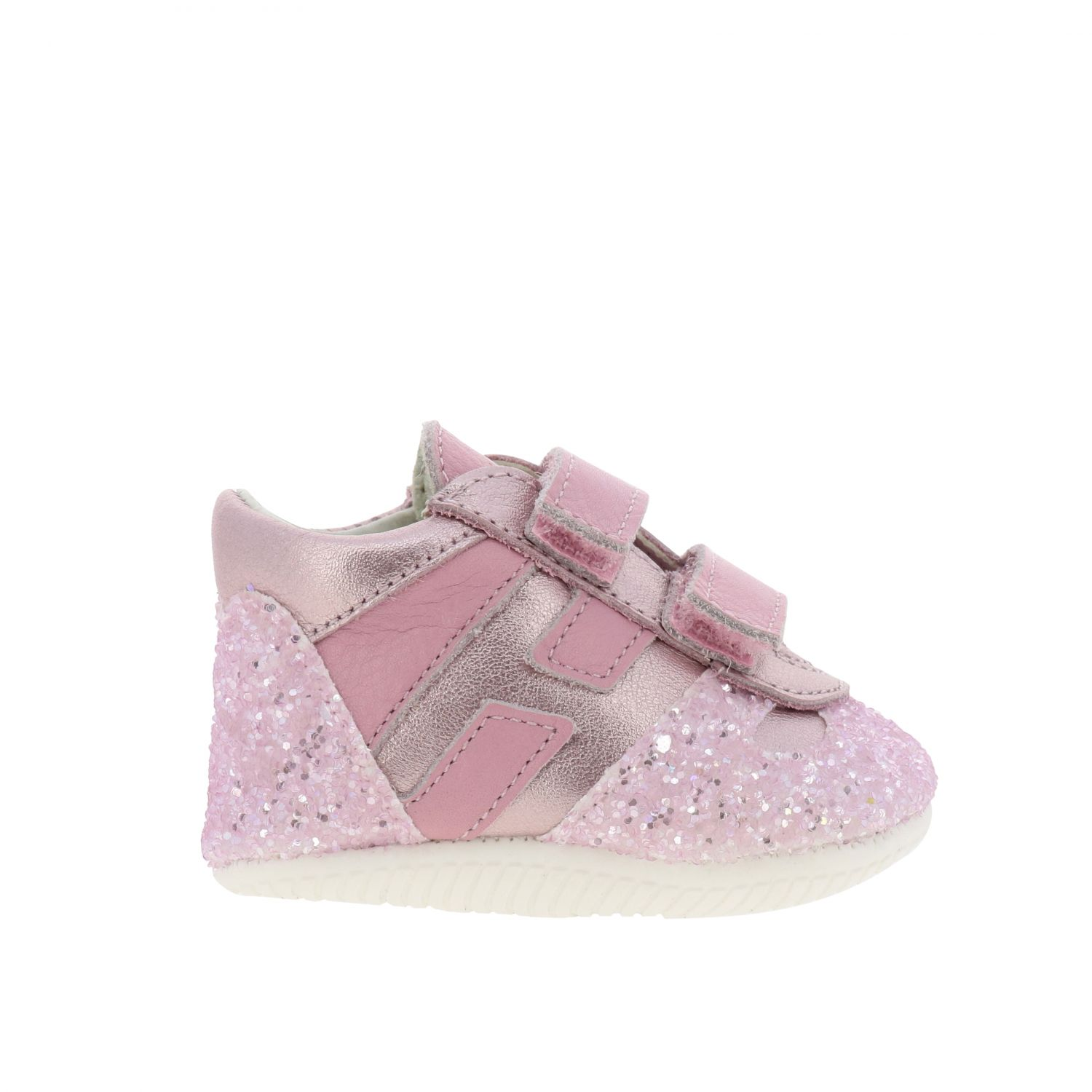 Olympia Hogan laminated leather and glitter sneakers with Velcro straps pink 1