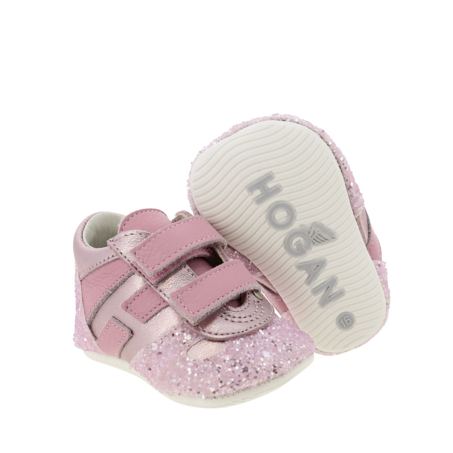 Olympia Hogan laminated leather and glitter sneakers with Velcro straps pink 2