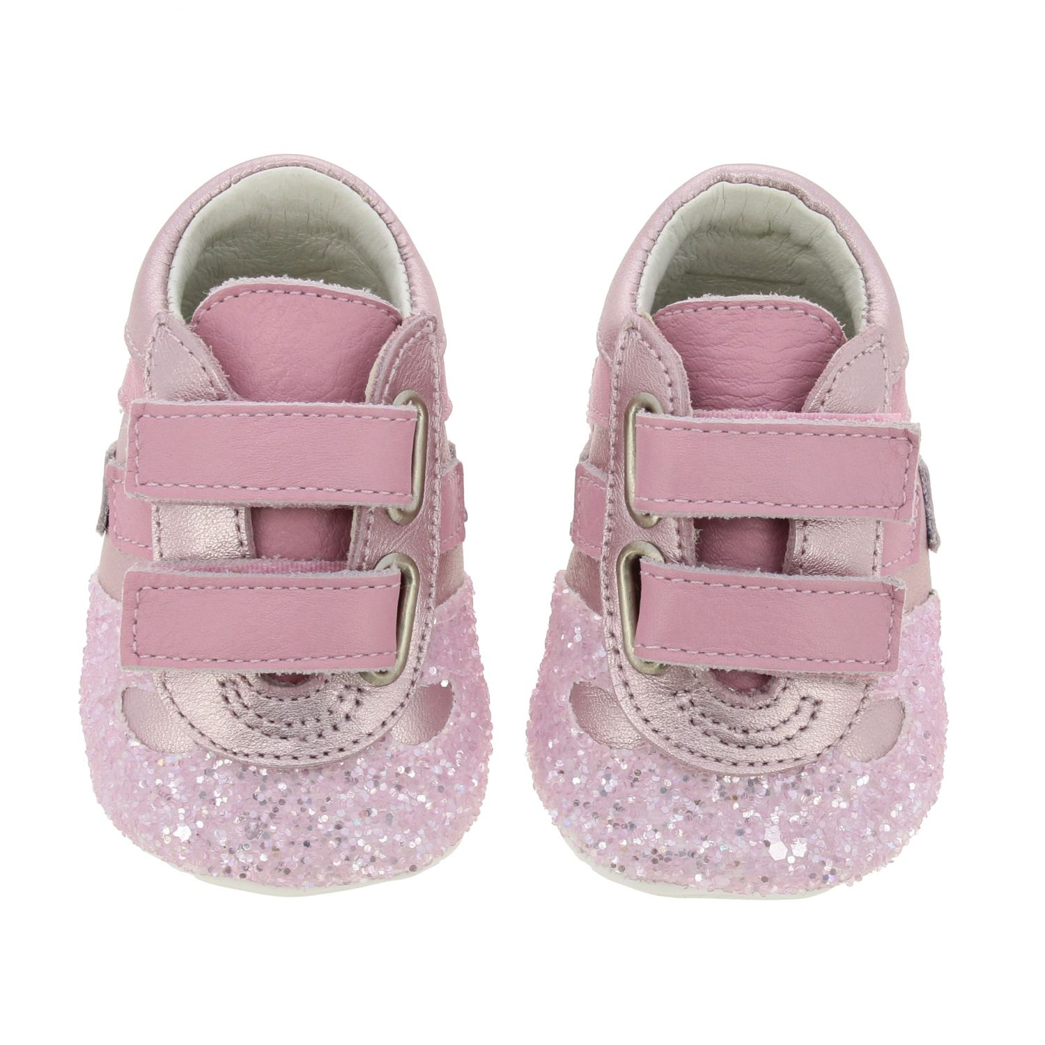 Olympia Hogan laminated leather and glitter sneakers with Velcro straps pink 3