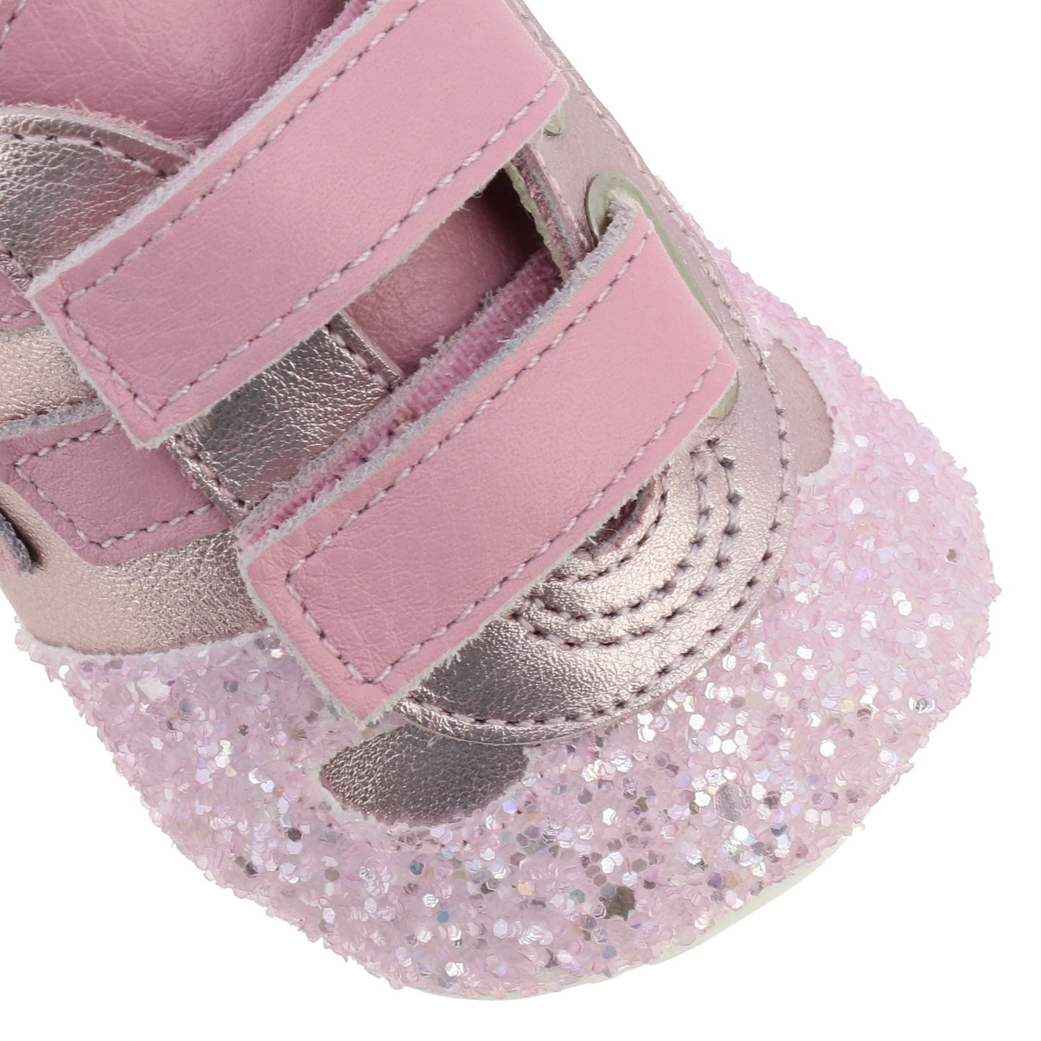 Olympia Hogan laminated leather and glitter sneakers with Velcro straps pink 4